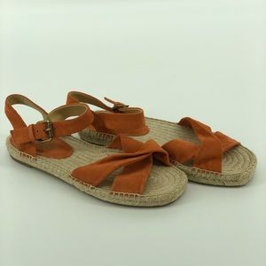 Splendid Suede Orange Sandals Open Toe Size 7.5